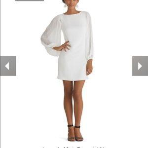 WHBM Winter White Chiffon Sleeve Dress Size 6